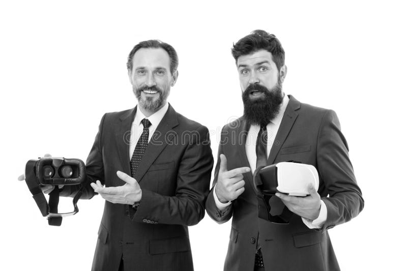 Virtual business. Online business concept. Men bearded formal suits. Digital and cyber technologies. Experimental. Experience. Business innovation. Vr stock image