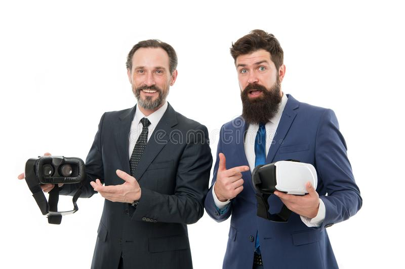 Virtual business. Online business concept. Men bearded formal suits. Digital and cyber technologies. Experimental. Experience. Business innovation. Vr royalty free stock photography