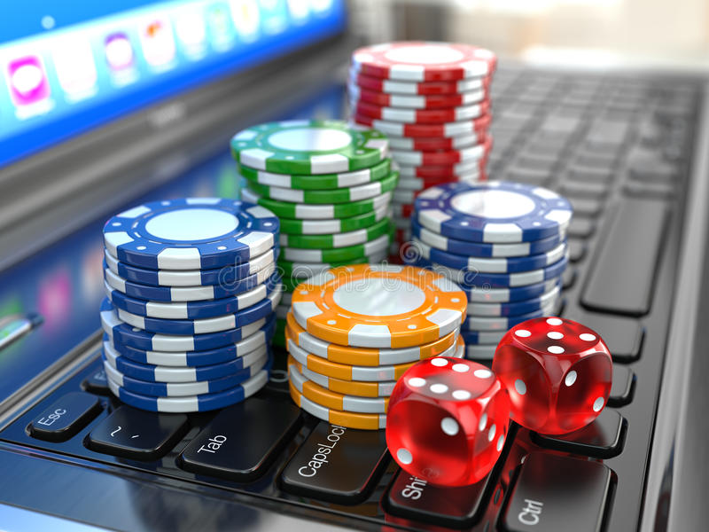 Virtual casino. Online gambling. Laptop with dice and chips. stock illustration
