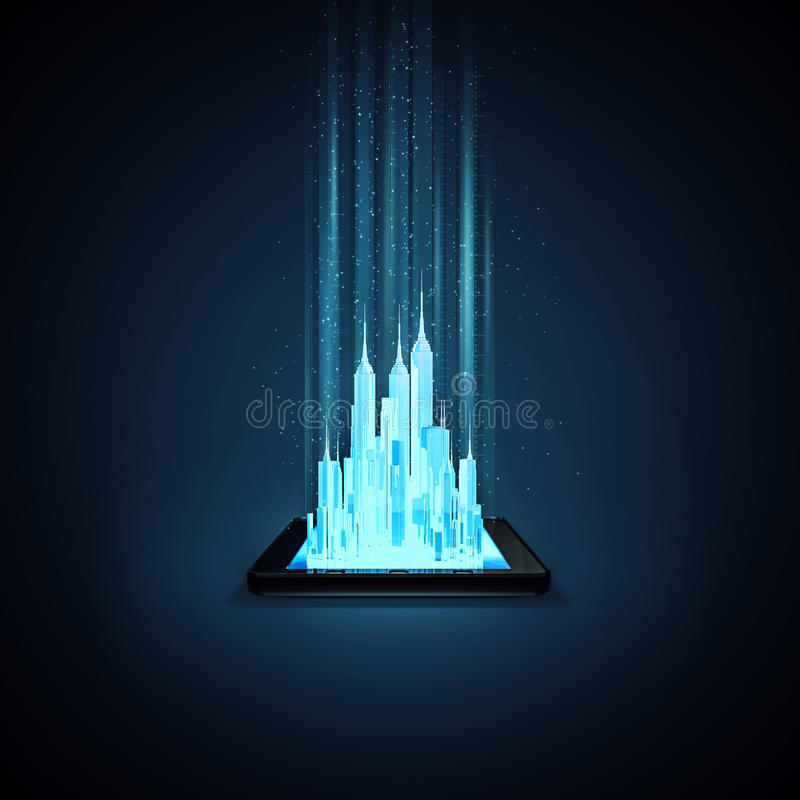 Virtual city tablet. 3D illustration of glowing metropolis rising out of tablet computer screen stock illustration