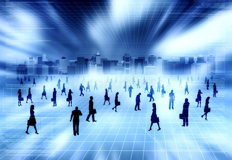 Virtual city with virtual people vector illustration
