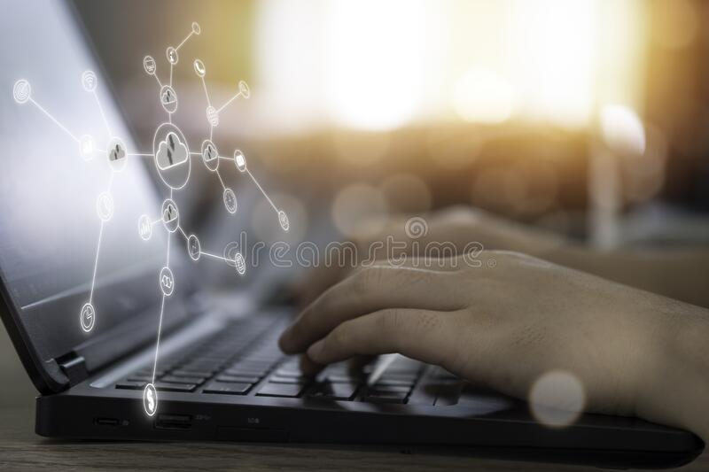 Virtual Cloud And Icon With Hand Use Laptop To Download And Upload