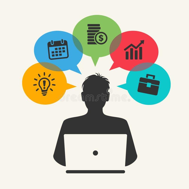 Virtual cloud network concept stock illustration
