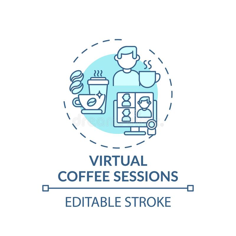 Free Virtual Coffee Sessions Concept Icon Royalty Free Stock Photos - 214824348