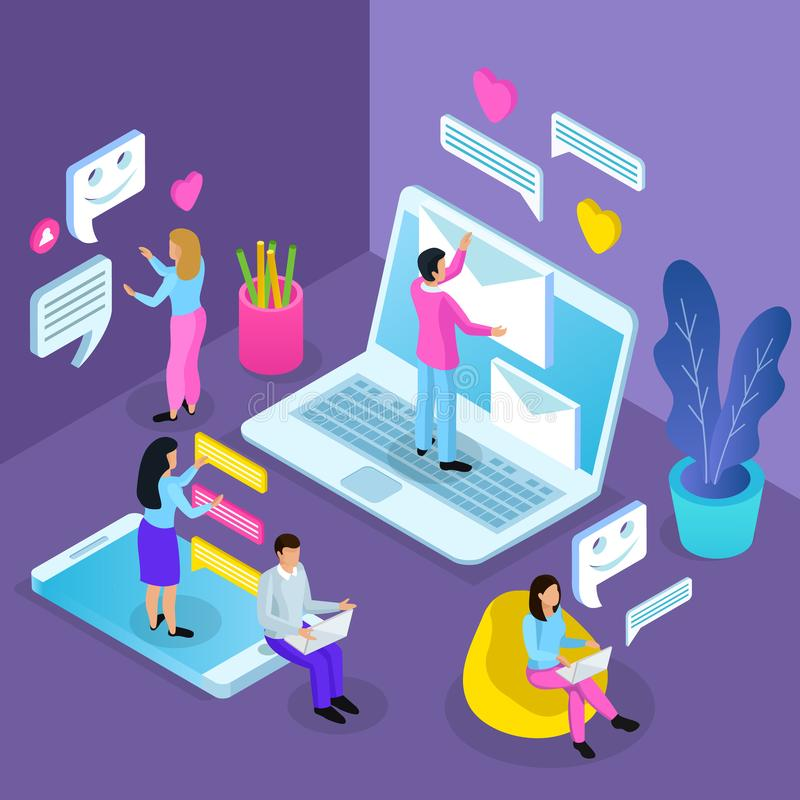 Virtual Communication Isometric Composition royalty free illustration
