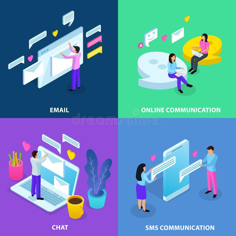 Virtual Communication Isometric Concept stock illustration