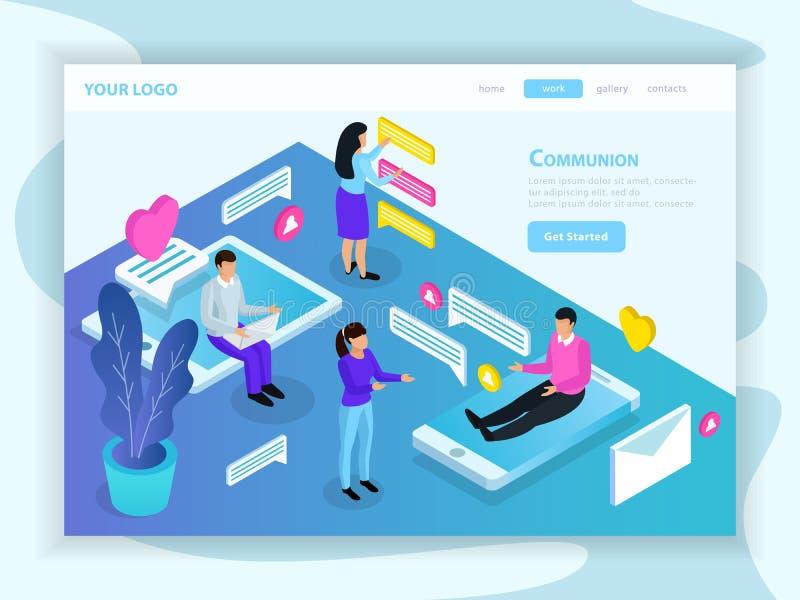 Virtual Communication Isometric Landing Page vector illustration