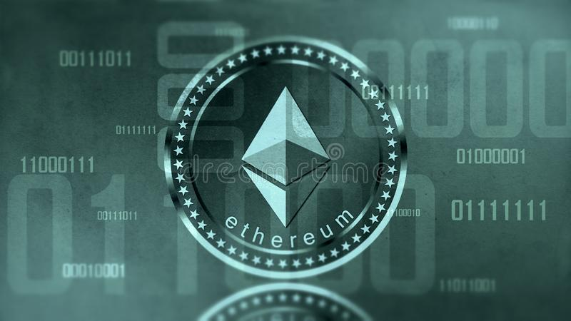 Virtual cryptocurrency Ethereum sign royalty free stock photos