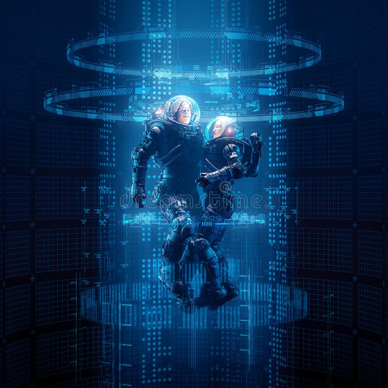 Virtual data portal astronauts. 3D illustration of science fiction male and female astronaut travelling through glowing virtual reality code vector illustration