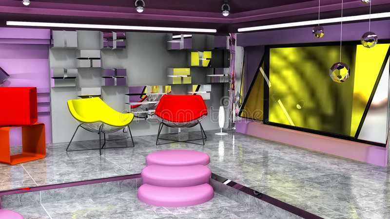 Virtual Fashion Set -Interview. Interview- an 3D Fashion virtual set, with retro elements and colors, High Definition resolution radio. Image 2 of 3, of the vector illustration