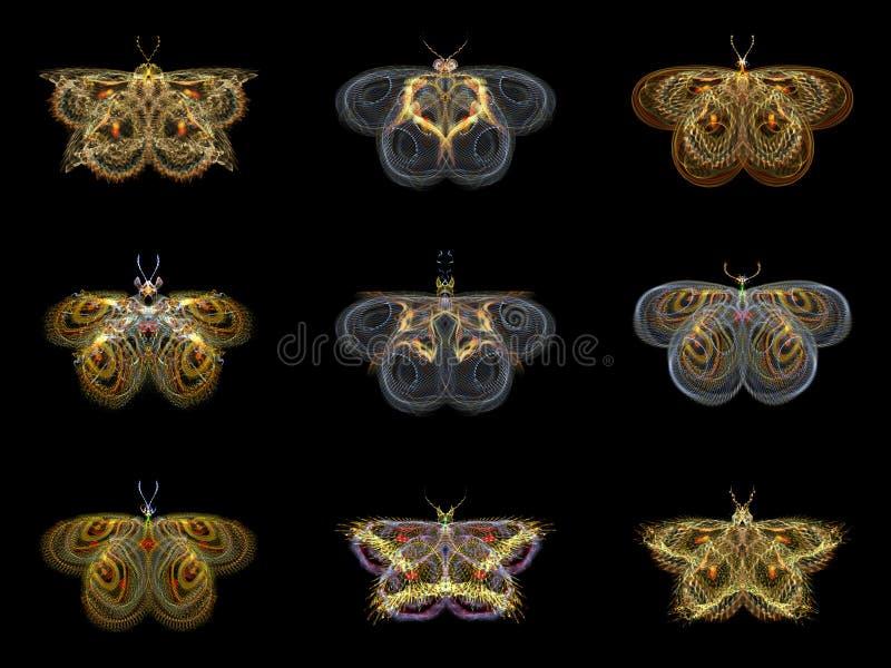 Virtual Fractal Butterflies Royalty Free Stock Photos