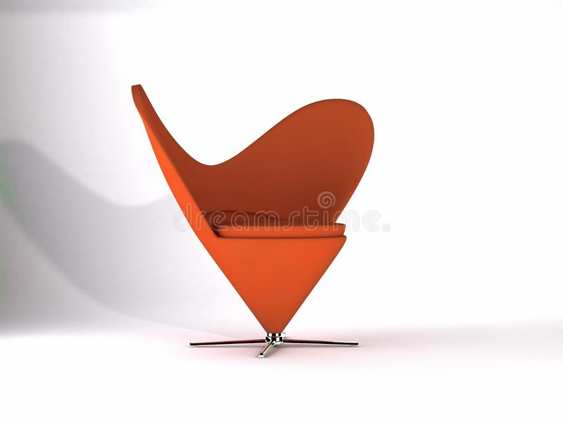 Virtual Furniture Vintage Classics Heart Cone Chai. R Verner Panton Rust Fabric Made with 3D Software royalty free illustration