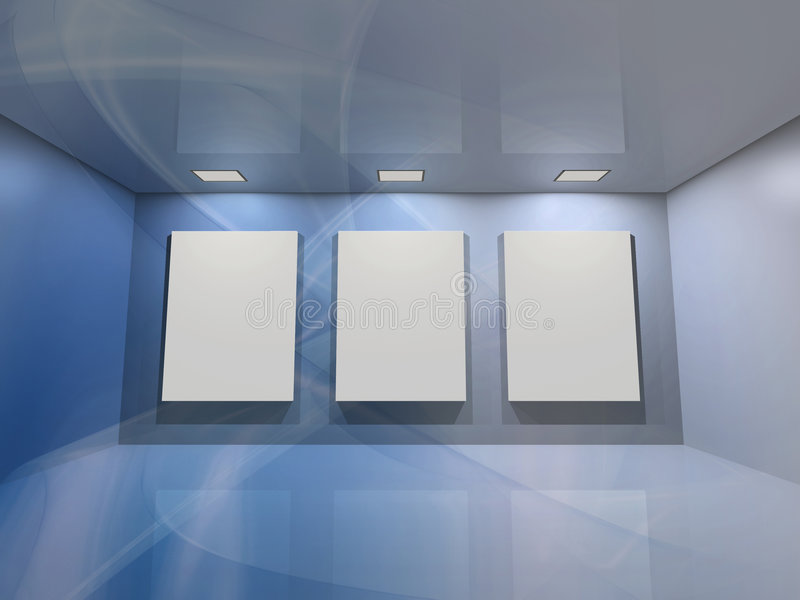 Virtual gallery - blue stock illustration