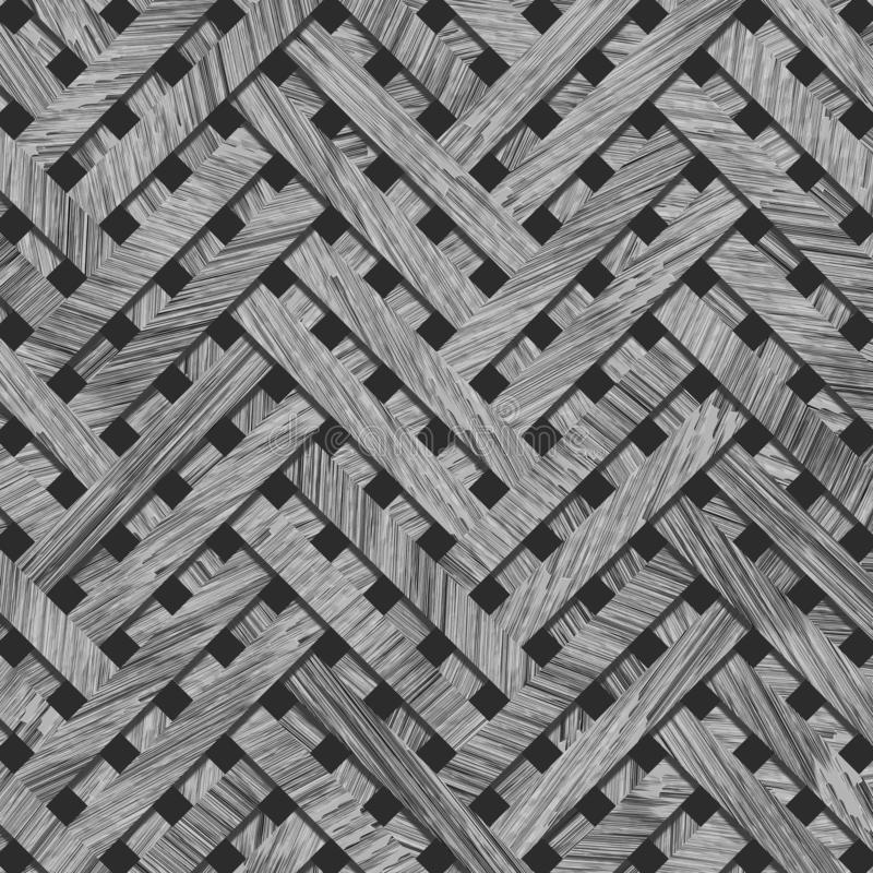 Virtual geometric pattern abstract, woven mat or rattan background, backdrop or texture. Gray or black and white b&w vector illustration