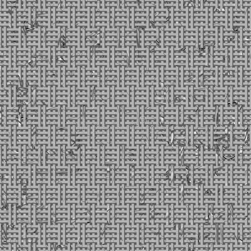 Virtual geometric pattern illustrations texture abstract, woven mat or rattan background. Gray or black and white b&w royalty free illustration