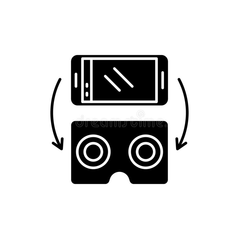 Virtual glasses for gadgets black icon, vector sign on isolated background. Virtual glasses for gadgets concept symbol royalty free illustration