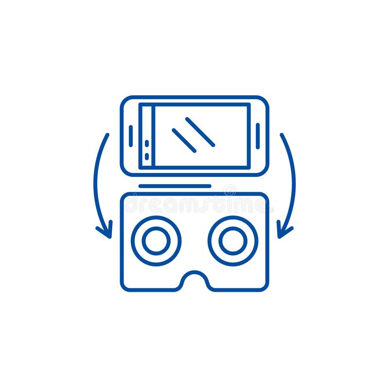 Virtual glasses for gadgets line icon concept. Virtual glasses for gadgets flat vector symbol, sign, outline vector illustration