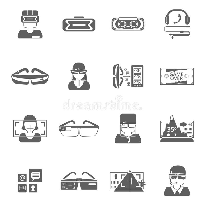 Virtual Glasses Icon Set. Virtual reality glasses technology black icon set isolated vector illustration vector illustration