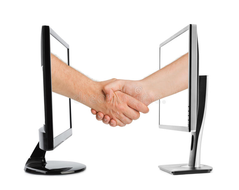Virtual handshake - internet business concept. Isolated on white background royalty free stock image