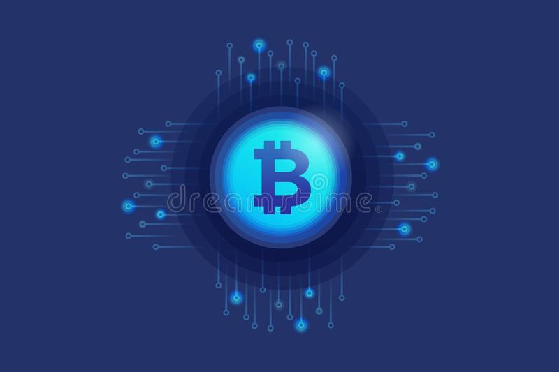 Virtual icon of cripto currency Bitcoin on background electronic circuit. Digital currency concept. stock illustration