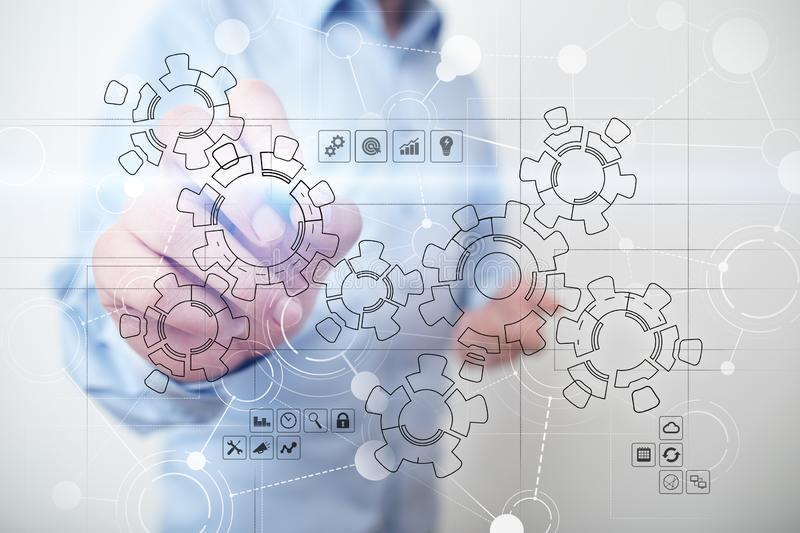 Virtual interface with mechanical gears. Automation and technology for Recruitment and HR concept. stock photography