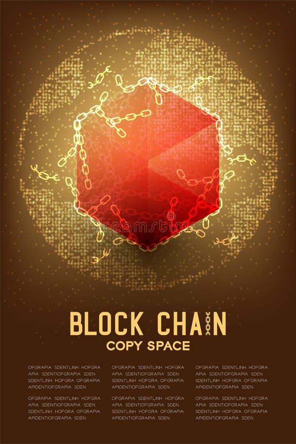 Virtual isométrico de la tecnología 3D de Blockchain con el globo geométrico del modelo del círculo, ejemplo off-line del diseño  libre illustration