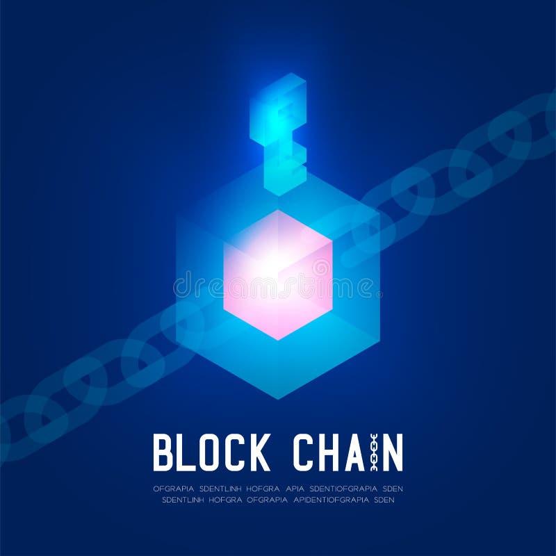 Virtual isométrico de la tecnología 3D de Blockchain, diseño de concepto de sistema del inicio de sesión ilustración del vector