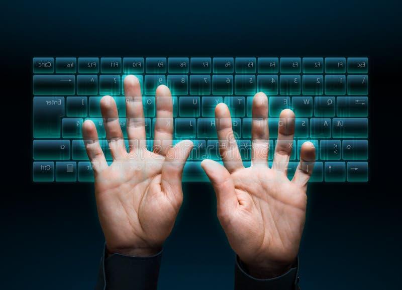 Virtual keyboard. Hand typing in on a virtual keyboard interface