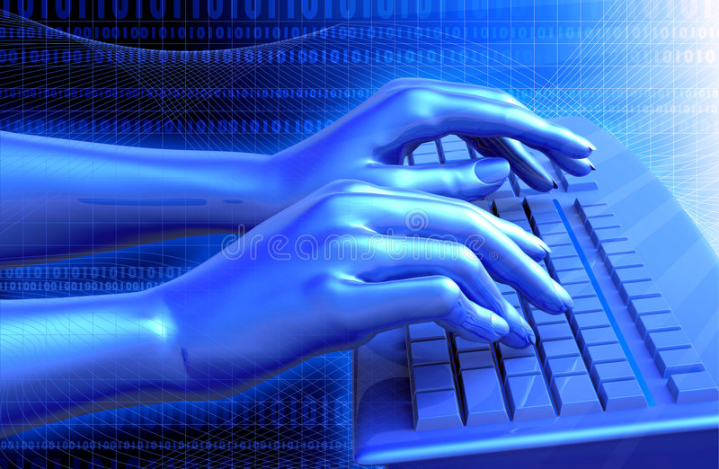 Virtual Keyboard. Clipping path is included for the hands. 3D illustration of virtual, wire-frame hands typing on a blue keyboard, isolated in white background royalty free illustration