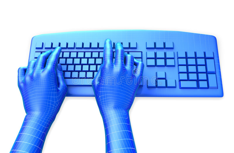 Virtual Keyboard. Clipping path is included for the hands. 3D illustration of virtual, wire-frame hands typing on a blue keyboard, isolated in white background vector illustration