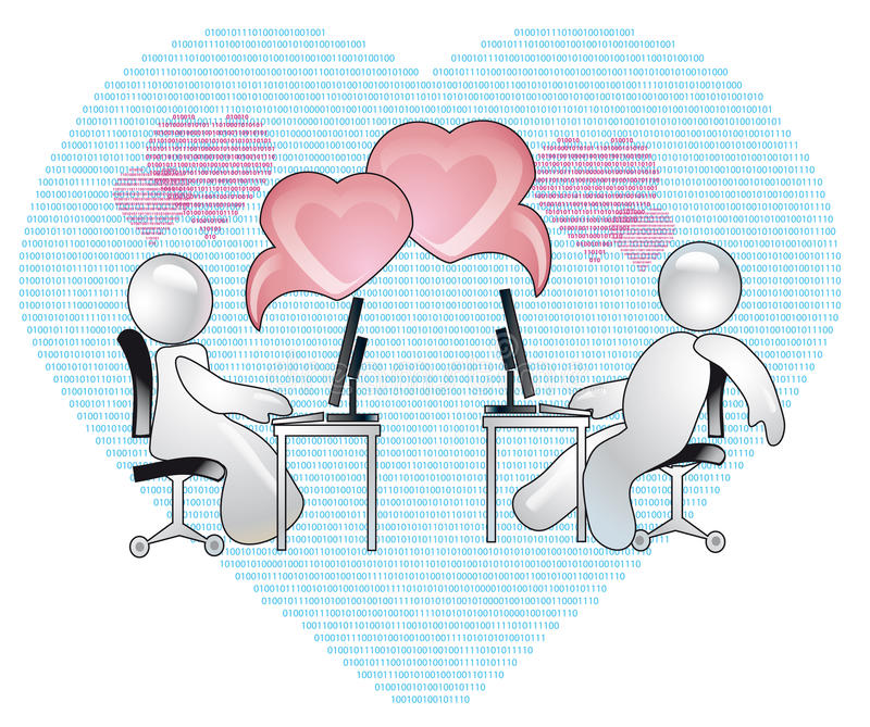 Virtual Love. Conception of romantic relations over the internet stock illustration