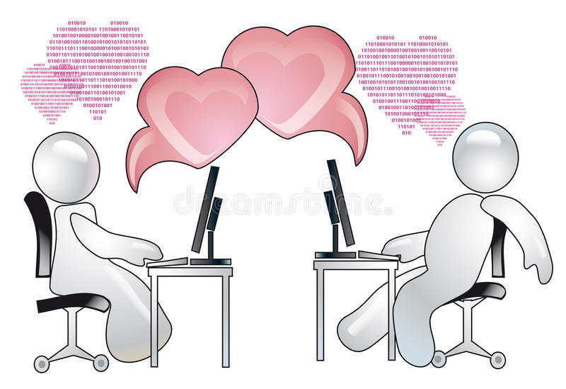 Virtual Love. Conception of romantic relations over the internet royalty free illustration