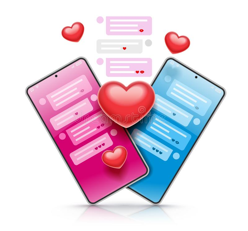 Virtual chat love and dating using smartphone app. Vector illustration. stock illustration