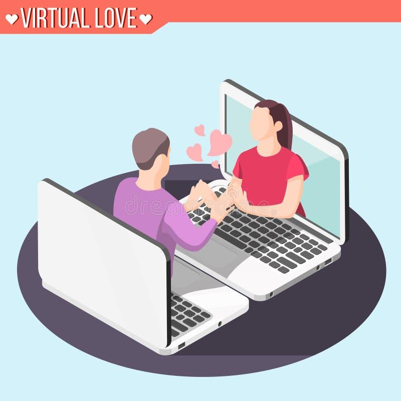 Virtual Love Isometric Background royalty free illustration