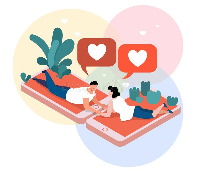 Virtual Love couple Isometric Composition. royalty free illustration