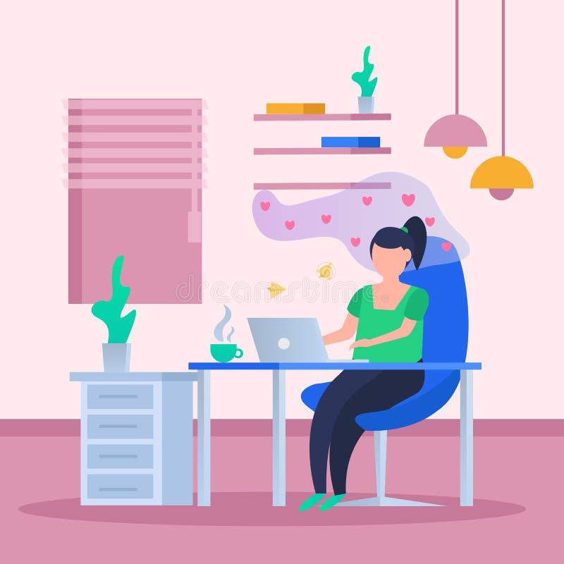 Virtual Love Orthogonal Background vector illustration