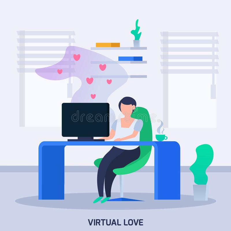 Virtual Love Orthogonal Composition royalty free illustration