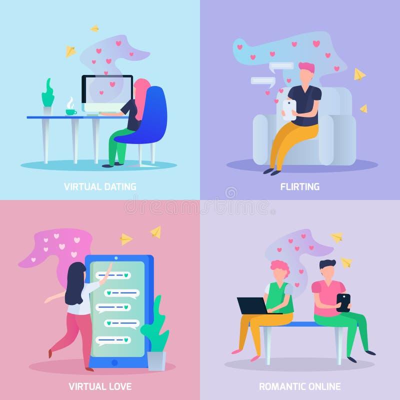 Virtual Love Orthogonal Concept stock illustration
