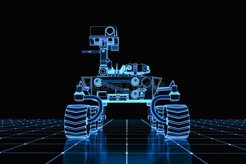 A virtual mars rover on a grid vector illustration