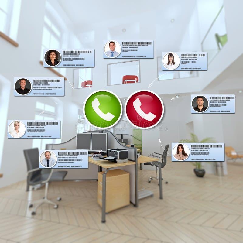 Virtual meeting in modern premises stock images