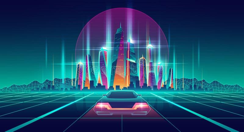 Virtual metropolis in digital simulation vector. Future city digital simulation in virtual reality cartoon vector futuristic background. Racing car going on royalty free illustration
