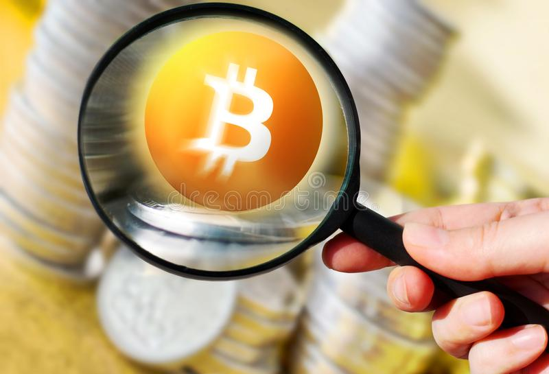 Virtual money Bitcoin cryptocurrency - Bitcoins accepted here royalty free stock images