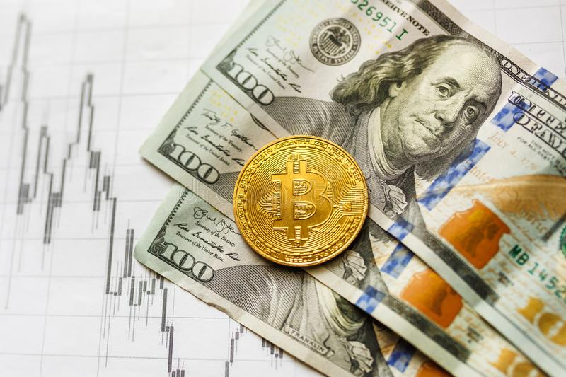 Virtual money golden bitcoin on hundred dollars bills and paper forex chart background. Exchange bitcoin cash for a dollar royalty free stock photography