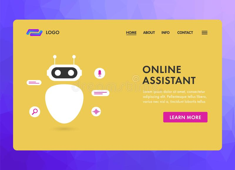 Virtual Online Assistant services concept modern flat design for website template, header, landing pages and banner. stock illustration