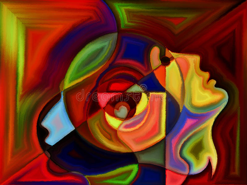 Virtual Perception. Thinking Divided series. Abstract design made of human profiles and stained glass lines on the subject of mind, science, technology and stock photos