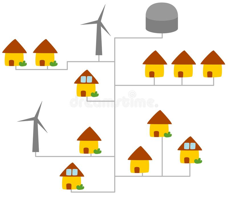 Download Virtual power plant stock illustration. Illustration of distributed - 24099122