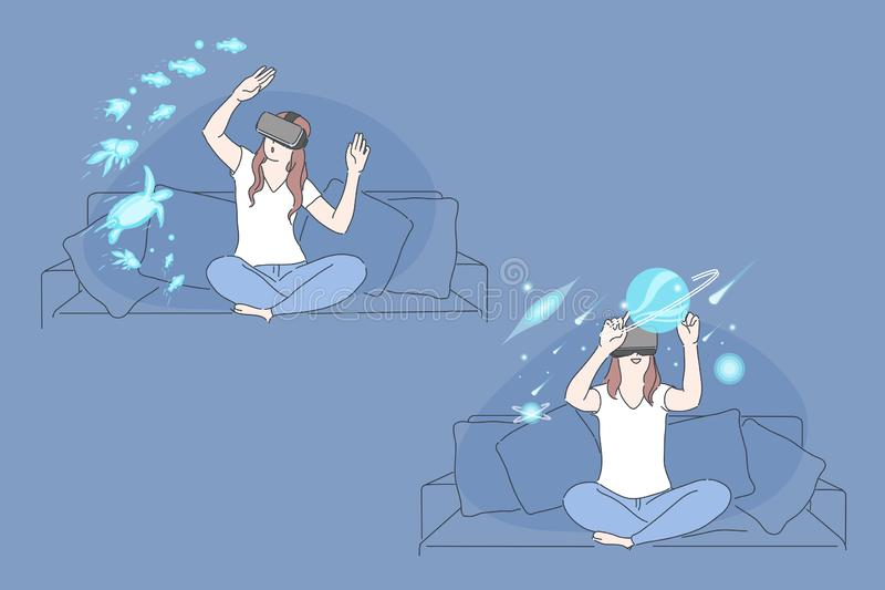 Virtual reality, AR technology, immersive experience concept vector illustration