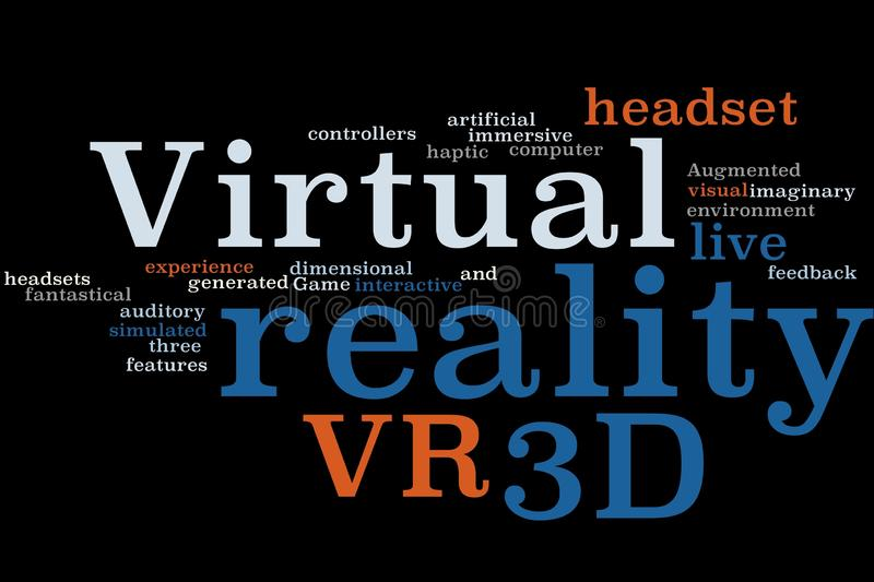 Virtual reality graphic. Virtual reality Background Concept Word Cloud vector illustration