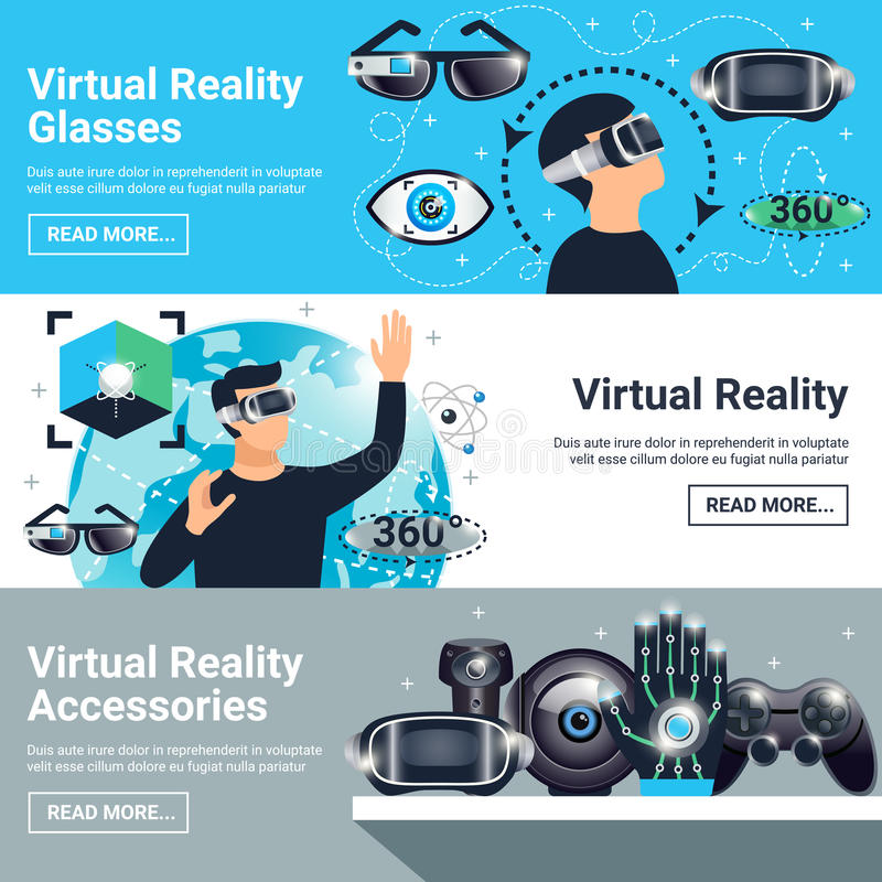Virtual Reality Banner Set. Three horizontal virtual reality banner set with glasses accessories descriptions and read more buttons vector illustration stock illustration