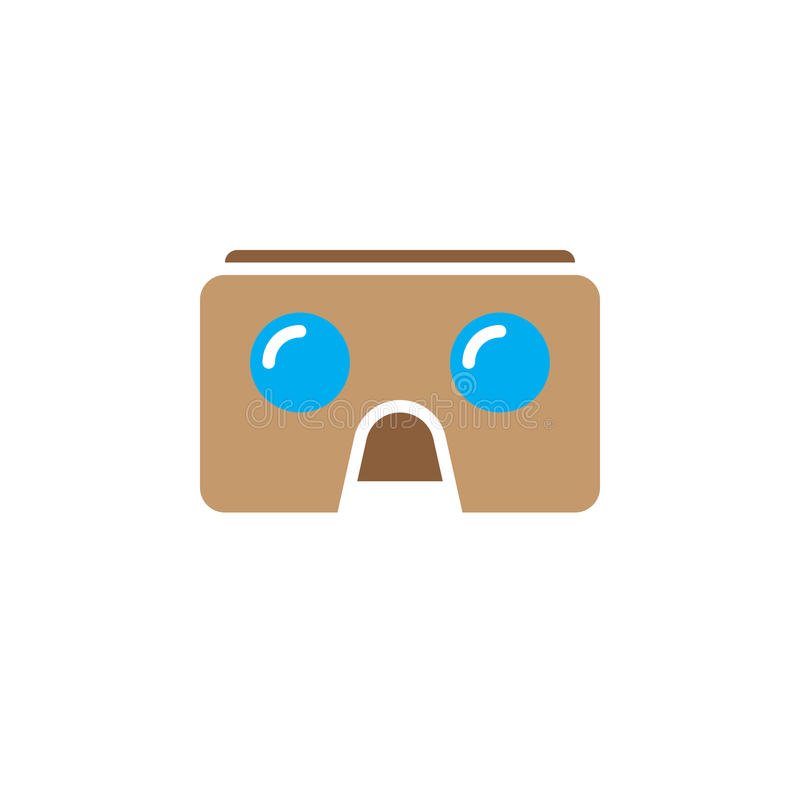 Virtual reality cardboard glasses icon vector, vr headset device solid logo illustration, pictogram isolated on white. stock illustration